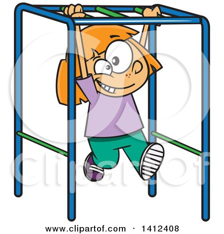 Clipart of a Cartoon Caucasian School Girl Playing on Playground Monkey Bars - Royalty Free Vector Illustration by toonaday