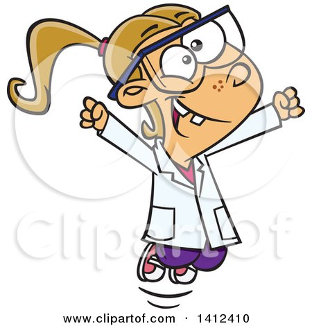 Clipart of a Cartoon Caucasian School Girl Cheering in Science Class - Royalty Free Vector Illustration by toonaday