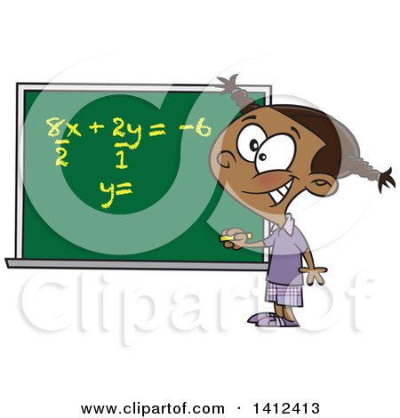 Clipart of a Cartoon Smart Black School Girl Solfing a Math Equation on a Chalk Board - Royalty Free Vector Illustration by toonaday