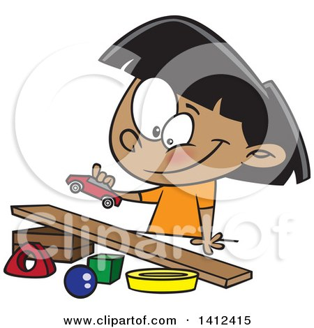 Clipart of a Cartoon Indian Girl Playing with a Toy Car and Ramp - Royalty Free Vector Illustration by toonaday