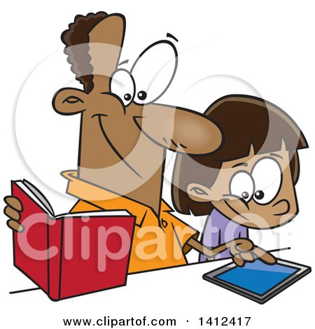 Clipart of a Cartoon Happy African American Father Teaching His Daughter How to Use a Tablet Computer - Royalty Free Vector Illustration by toonaday