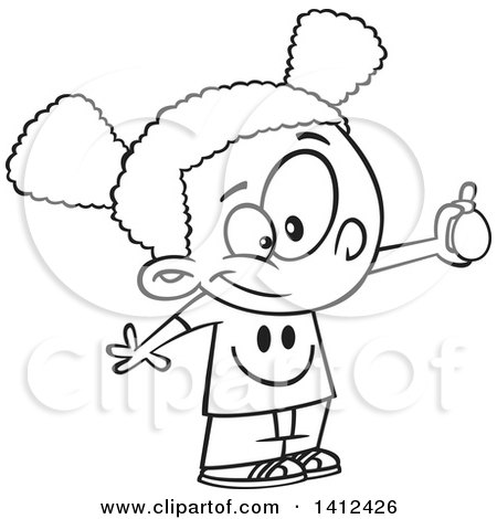 Clipart of a Cartoon Black and White Lineart African American School Girl Performing an Egg Drop Experiment - Royalty Free Vector Illustration by toonaday