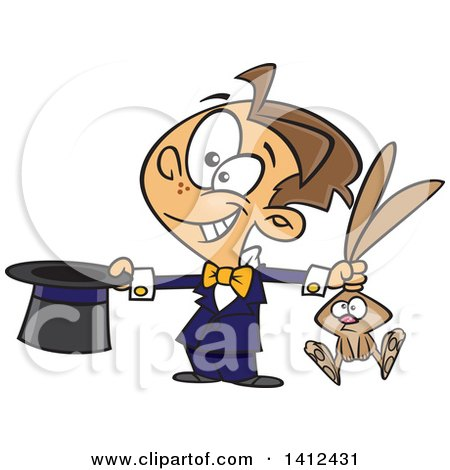 Clipart of a Cartoon Happy Magician Boy Performing a Rabbit and Hat Trick - Royalty Free Vector Illustration by toonaday
