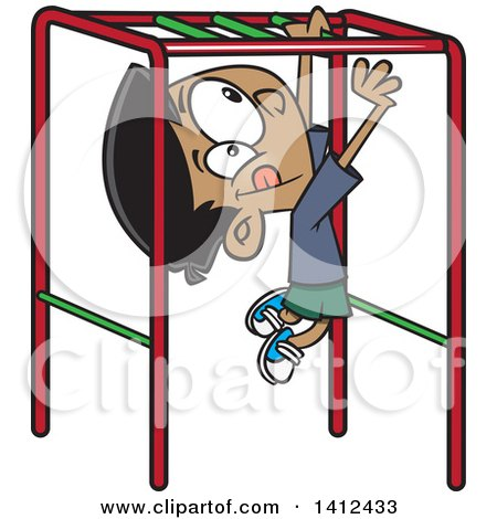 Clipart of a Cartoon Indian Boy Playing on Playground Monkey Bars - Royalty Free Vector Illustration by toonaday