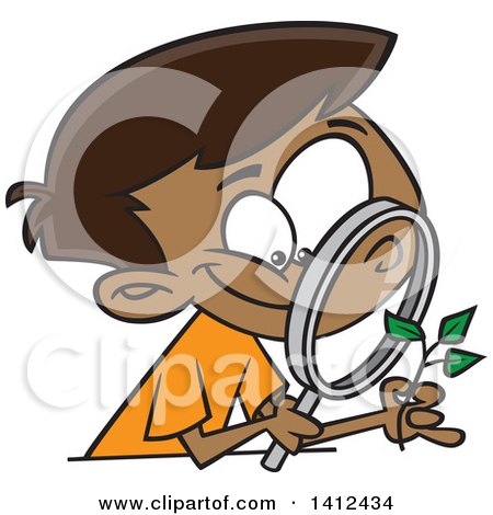 Clipart Of A Cartoon Happy African American Boy Observing A Plant Through A Magnifying Glass Royalty Free Vector Illustration