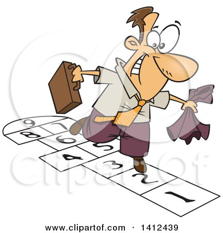 Clipart of a Cartoon Caucasian Business Man Playing Hopscotch - Royalty Free Vector Illustration by toonaday