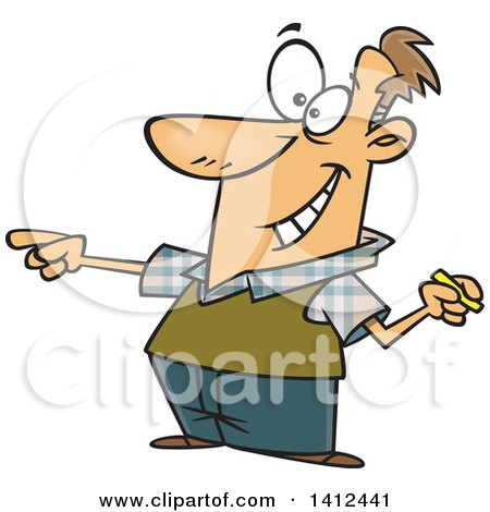 Clipart of a Cartoon Enthusiastic Caucasian Male Teacher Holding Chalk and Calling on a Student - Royalty Free Vector Illustration by toonaday