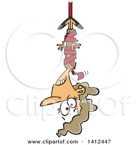 Clipart of a Cartoon Caucasian Business Woman Hanging from Red Tape - Royalty Free Vector Illustration by toonaday