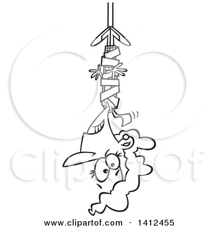 Clipart of a Cartoon Black and White Lineart Business Woman Hanging from Red Tape - Royalty Free Vector Illustration by toonaday
