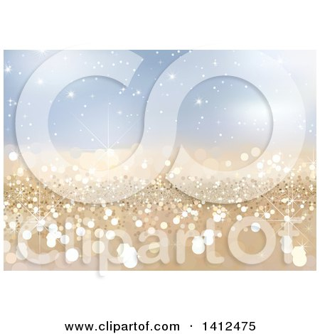 Clipart of a Background of Golden Sparkles on Blue - Royalty Free Vector Illustration by dero