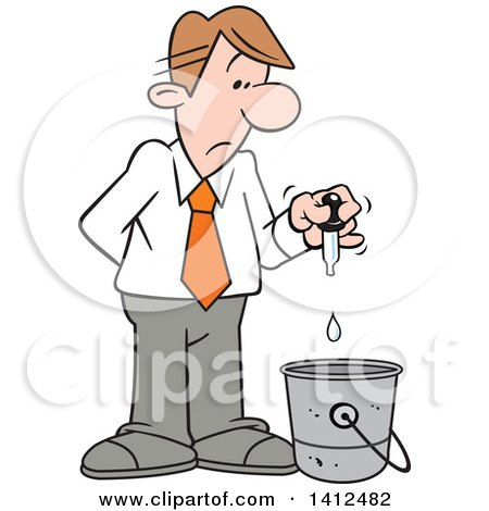 Clipart of a Cartoon Caucasian Businessman Putting a Drop in the Bucket - Royalty Free Vector Illustration by Johnny Sajem