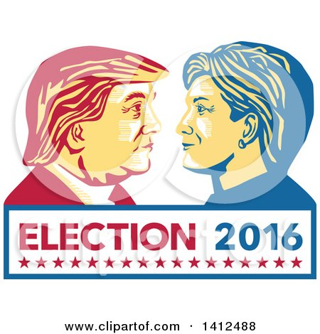 Clipart of a Retro Face off Between Hillary Clinton and Donald Trump over Text - Royalty Free Vector Illustration by patrimonio