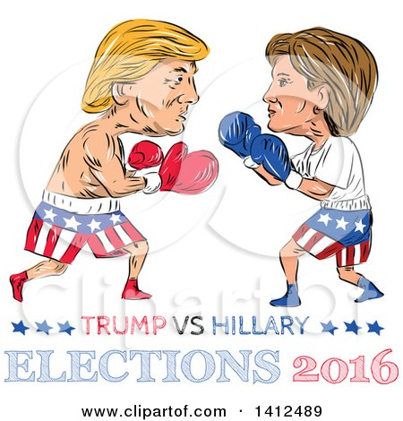 Clipart of a Sketched Caricature of Donald Trump Vs Hillary Clinton in a Boxing Match - Royalty Free Vector Illustration by patrimonio