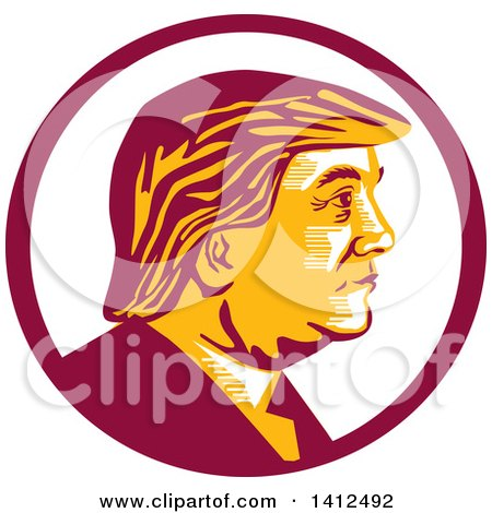 Clipart of a Retro Profile Portrait of Donald Trump in a Magenta Circle - Royalty Free Vector Illustration by patrimonio