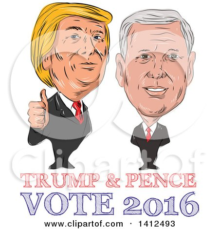 Clipart of a Sketched Caricature of Donald Trump Giving a Thumb up Next to Mike Pence - Royalty Free Vector Illustration by patrimonio