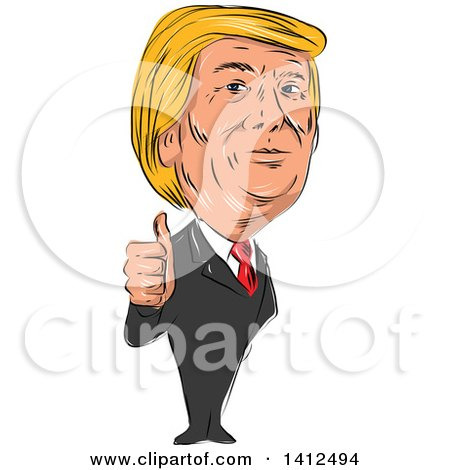 Clipart of a Sketched Caricature of Donald Trump Giving a Thumb up - Royalty Free Vector Illustration by patrimonio