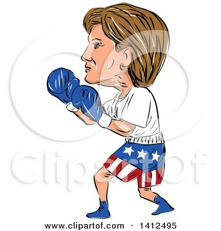 Clipart of a Sketched Caricature of Hillary Clinton Boxing - Royalty Free Vector Illustration by patrimonio