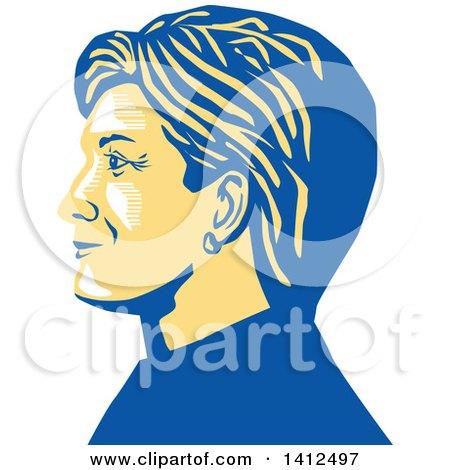 Clipart of a Retro Profile Portrait of Hillary Clinton - Royalty Free Vector Illustration by patrimonio