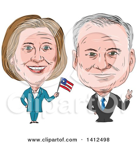 Clipart of a Sketched Caricature of Hillary Clinton Waving a Flag Next to Tim Kaine - Royalty Free Vector Illustration by patrimonio