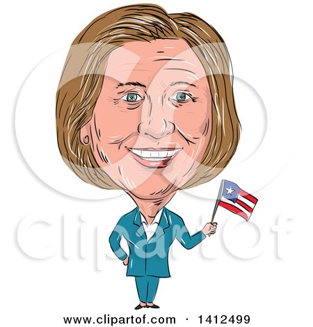 Clipart of a Sketched Caricature of Hillary Clinton Holding a Flag - Royalty Free Vector Illustration by patrimonio