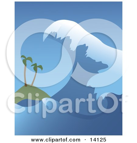 Giant Tsunami Wave Closing In On Two Palm Trees On A Beach Natural Hazard Clipart Illustration by Rasmussen Images