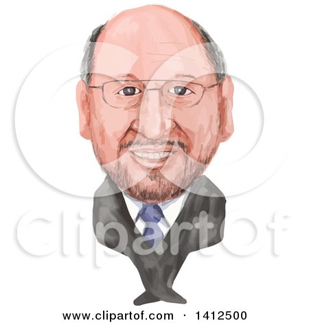 Clipart of a Watercolor Caricature of Martin Schulz, German Politician Serving As the President of the European Parliament - Royalty Free Vector Illustration by patrimonio