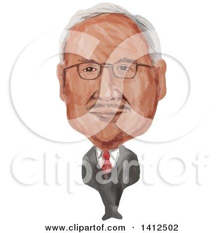 Clipart of a Watercolor Caricature of Dato Sri Haji Mohammad Najib Bin Tun Haji Abdul Razak, the Sixth Prime Minister of Malaysia - Royalty Free Vector Illustration by patrimonio