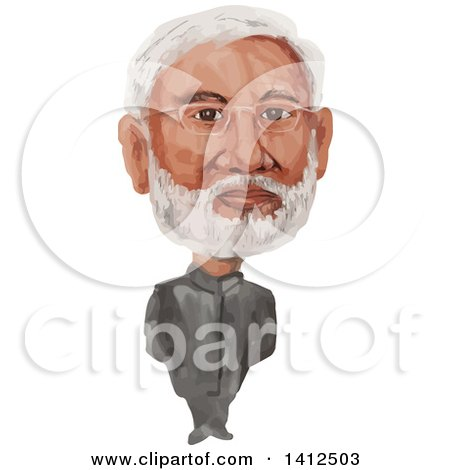 Clipart of a Watercolor Caricature of Narendra Damodardas Modi, the 14th Prime Minister of India - Royalty Free Vector Illustration by patrimonio
