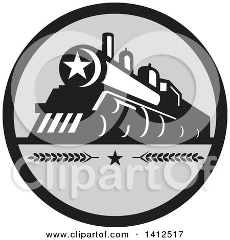 Clipart of a Retro Steam Engine Train with a Star on the Front, Inside a Black and Gray Circle - Royalty Free Vector Illustration by patrimonio