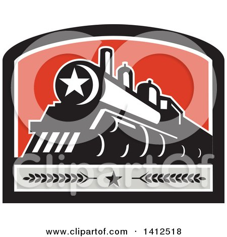 Clipart of a Retro Steam Engine Train with a Star on the Front, Inside a Black White Gray and Red Crest - Royalty Free Vector Illustration by patrimonio