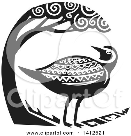 Clipart Of A Retro Grayscale Tribal Style Pacific Golden Plover Bird Under A Tree Royalty Free Vector Illustration