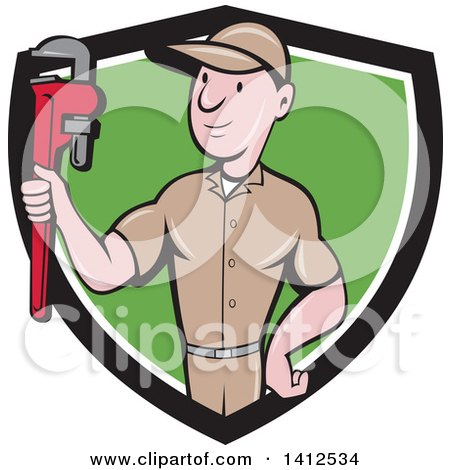 Retro Cartoon White Male Plumber or Handy Man Holding a Monkey Wrench in a Black White and Green Shield Posters, Art Prints