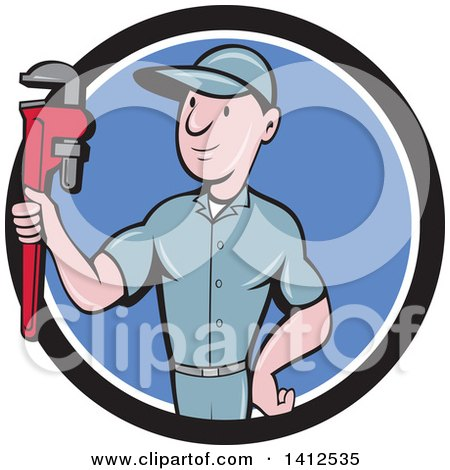 Retro Cartoon White Male Plumber or Handy Man Holding a Monkey Wrench in a Black White and Blue Circle Posters, Art Prints