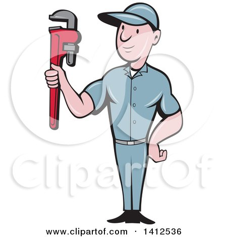 Retro Cartoon White Male Plumber or Handy Man Holding a Monkey Wrench Posters, Art Prints