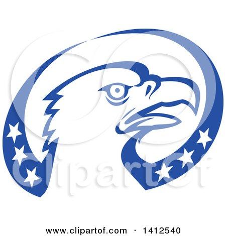 Clipart of a Retro Bald Eagle Head in a Blue and White American Themed Oval - Royalty Free Vector Illustration by patrimonio