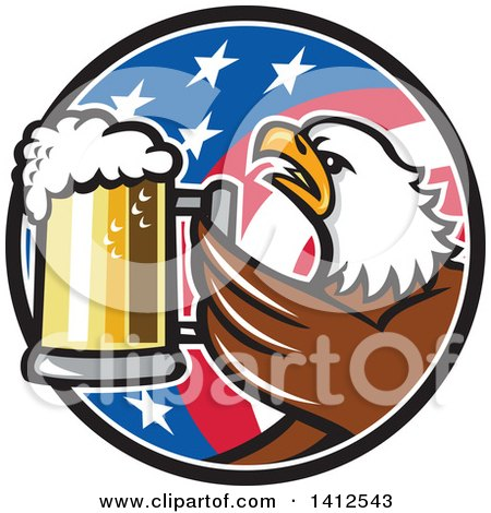 Clipart of a Retro Bald Eagle Toasting with Beer in an American Flag Circle - Royalty Free Vector Illustration by patrimonio