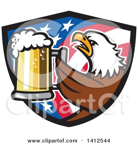 Clipart of a Retro Bald Eagle Toasting with Beer in an American Flag Shield - Royalty Free Vector Illustration by patrimonio