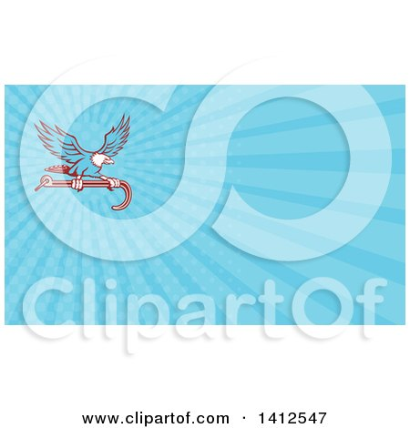 Clipart of a Retro Blue Bald Eagle Flying with a Towing J Hook and Blue Rays Background or Business Card Design - Royalty Free Illustration by patrimonio