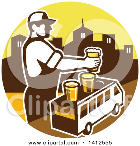 Clipart of a Retro Male Bartender Putting a Beer on Top of a Brew Tour Van in a Cityscape Circle - Royalty Free Vector Illustration by patrimonio