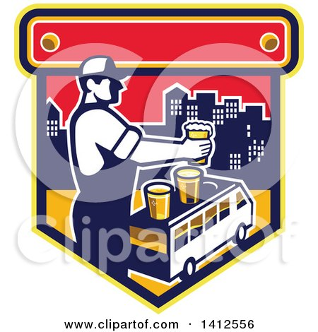Clipart of a Retro Male Bartender Putting a Beer on Top of a Brew Tour Van in a Cityscape Crest - Royalty Free Vector Illustration by patrimonio