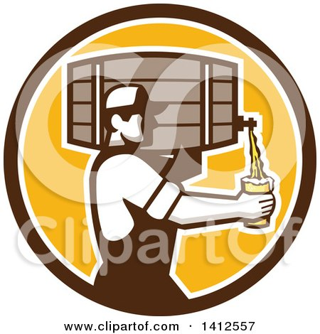 Clipart of a Retro Male Bartender Pouring a Glass of Beer from a Keg in a Brown White and Orange Circle - Royalty Free Vector Illustration by patrimonio