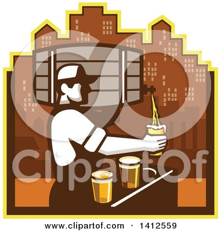 Clipart of a Retro Male Bartender Pouring Different Types of Beer from a Keg Against a City Skyline - Royalty Free Vector Illustration by patrimonio