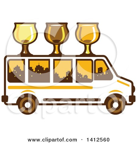 Clipart of a Retro Brew Tour Bus with Glasses on the Roof and a City Skyline in the Windows - Royalty Free Vector Illustration by patrimonio