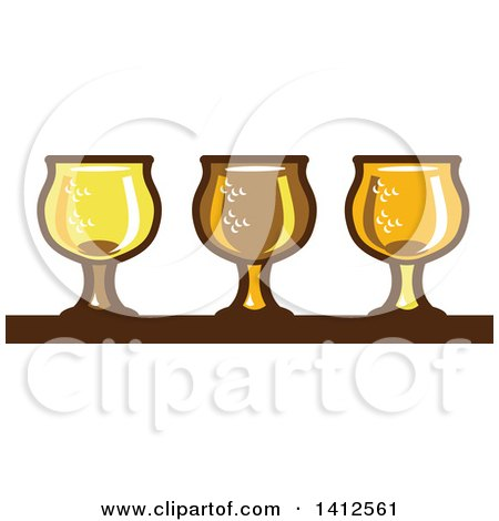Clipart of a Retro Row of Light, Dark and Ale Beer Glasses - Royalty Free Vector Illustration by patrimonio