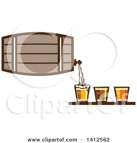Clipart of a Retro Beer Keg Barrel Pouring Light, Dark and Ale into Glasses - Royalty Free Vector Illustration by patrimonio