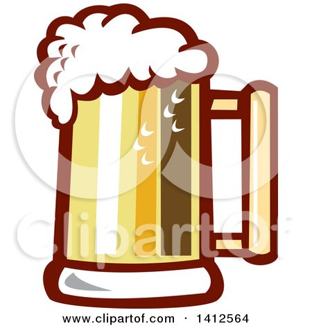 Clipart of a Retro Beer Stein Mug with Foam - Royalty Free Vector Illustration by patrimonio