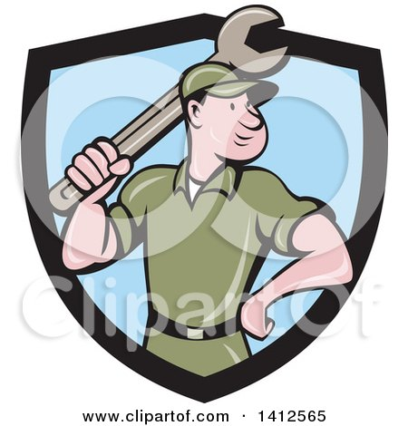 Clipart of a Retro Cartoon White Handy Man or Mechanic Standing and Holding a Spanner Wrench in a Black and Blue Shield - Royalty Free Vector Illustration by patrimonio
