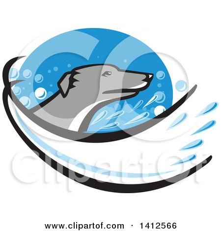 Clipart of a Retro Greyhound Dog Head with a Splash of Water in a Blue Oval - Royalty Free Vector Illustration by patrimonio