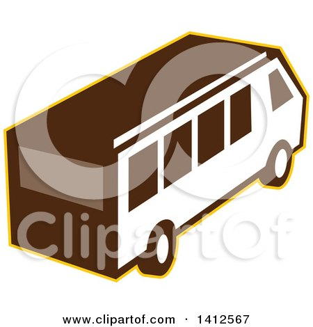 Clipart of a High Angle View of a Retro Van Outlined in Yellow - Royalty Free Vector Illustration by patrimonio