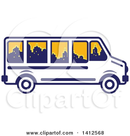 Clipart of a Retro Blue and White Tour Bus with a City Skyline in the Windows - Royalty Free Vector Illustration by patrimonio